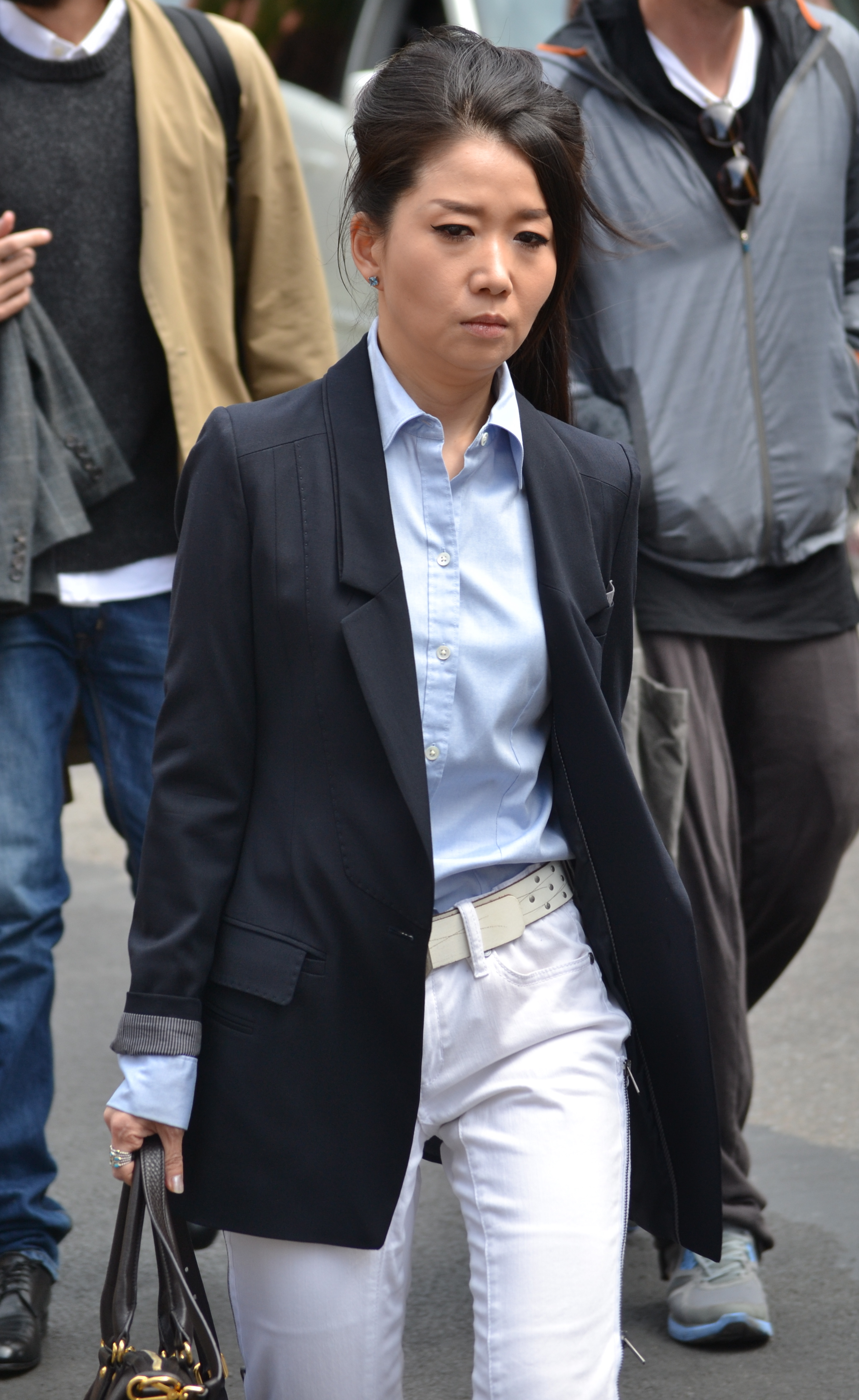 navy jacket white pants