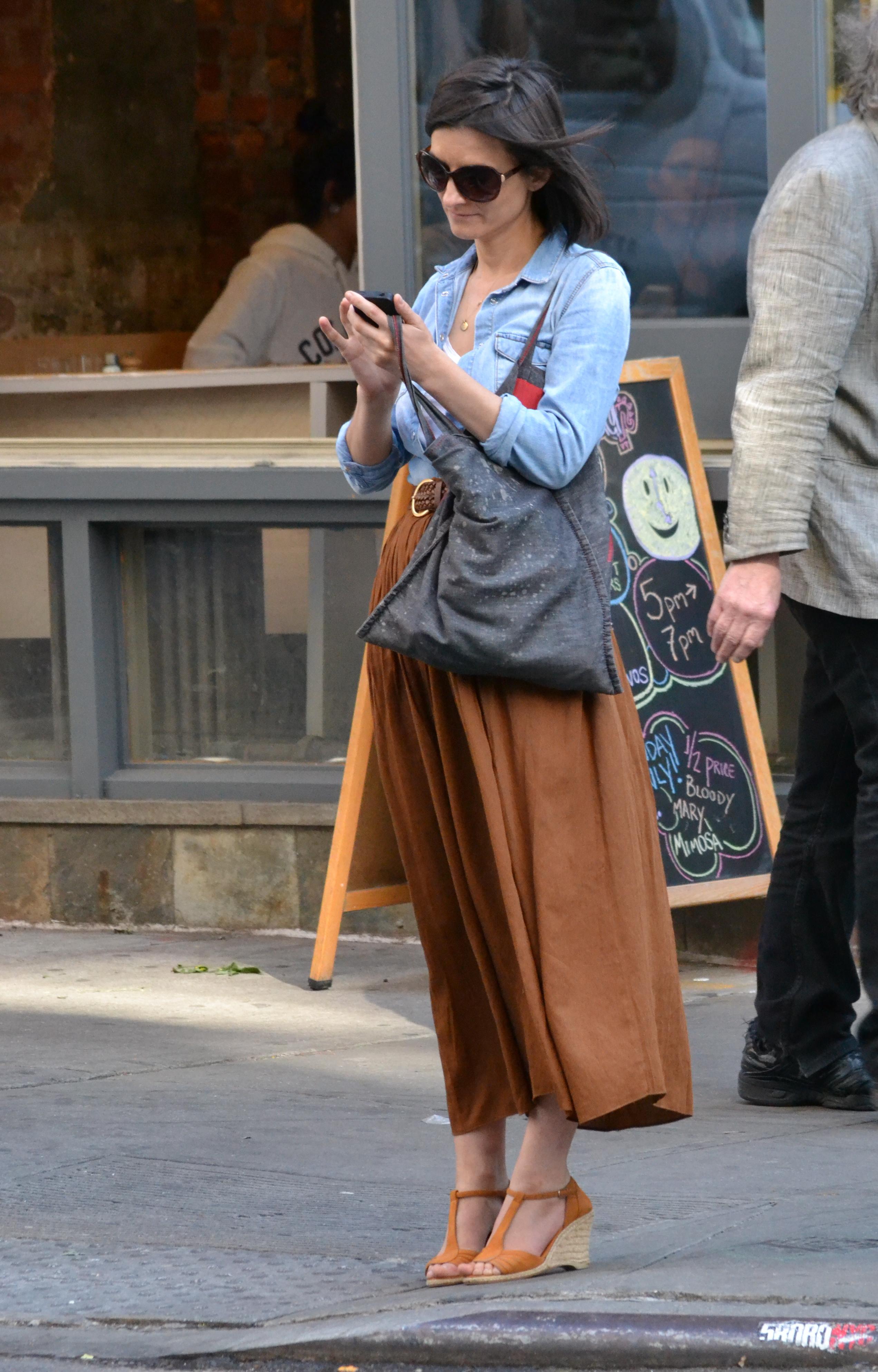 TREND ALERT: Denim Shirt, Tan Skirt